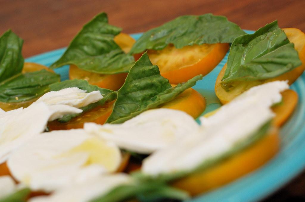 fresh basil and heirloom tomatoes