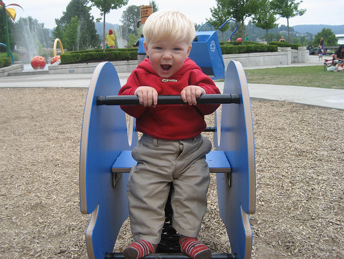 Jacob rocking out on the playground