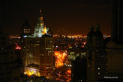 IMGP14413 Sleepless night in NYC (cailisi) Tags: trip travel newyork night lights spring downtown manhattan parkrow eastriver hudsonriver 2009 pentaxk100d lisicai