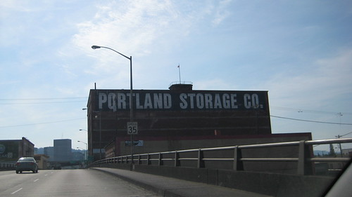 Portland: Driving down the Burnside Bridge