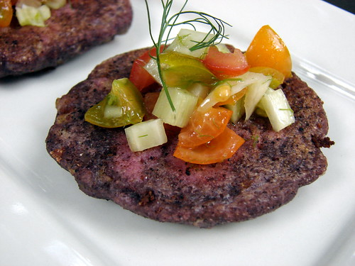 blue cornmeal+sweet corn cakes with tomato+fennel relish
