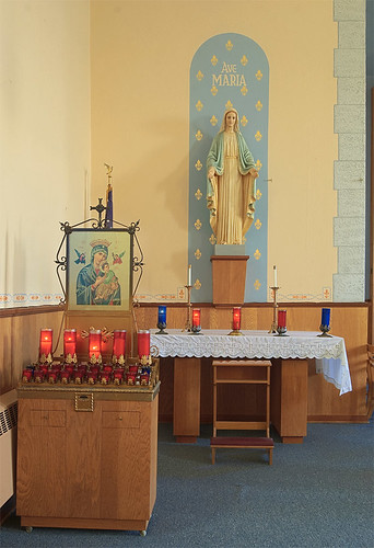 Saints Philip and James Roman Catholic Church, in River aux Vases, Missouri, USA - Mary's altar