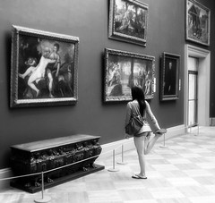 Stretching at the Met (Visualtricks) Tags: bw newyork girl gallery leg paintings tired stretching metropolitanmuseum thechallengegame challengegamewinner newgoldenseal challrngegamewinner