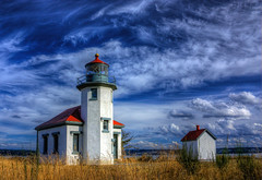 Pt Robinson Lighthouse HDR 4155 (Fresnatic) Tags: ocean seattle summer usa lighthouse beach clouds skies pacificnorthwest storms hdr cloudscapes vashonisland photomatix greatphotographers mauryisland westcoastlighthouses lighthousesoftheworld washingtonstatelighthouses anawesomeshot hdraddicted pacificcoastlighthouses pacificnorthwestlighthouses pointrobinsonlighthouse canonrebelxsi ptrobinsonlighthouse fresnatic