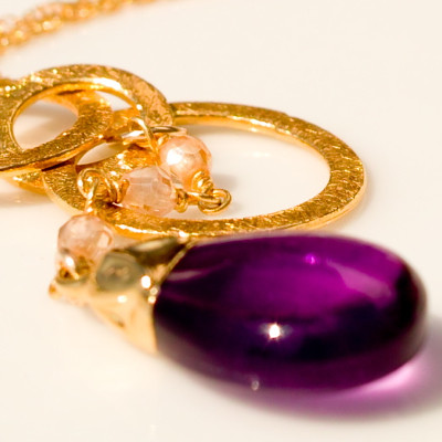 Amethyst Bell with Gold Vermeil Rings Handmade Necklace