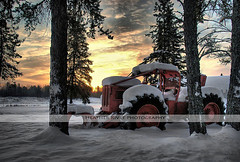 Skidder Sunrise (heatherrivet) Tags: old flowers trees winter wild summer pets sun white house ontario canada black cold art fall cars ice nature birds animals fog digital forest vintage landscape outdoors bay landscapes nikon rocks seasons natural heather wildlife north southern vehicles lakeshore land trucks northwestern tractors thunder hdr orillia rivet waterscape portriat waller dryden skidder cheekers wabigoon oxdrift