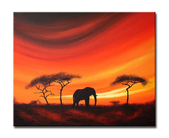 Savannah solitude' African sunset/Landscape painting (Sunset Contemporary Art by Shirley Shelton) Tags: africa original sunset red sky orange abstract art yellow modern clouds sunrise reflections painting landscape dawn diptych warm acrylic triptych skies sundown kenya dusk african contemporary horizon silhouettes tribal canvas mara heat giraffes shelton shirley warrior elephants savannah colourful serengeti masai maasai impressionist textured serengetti