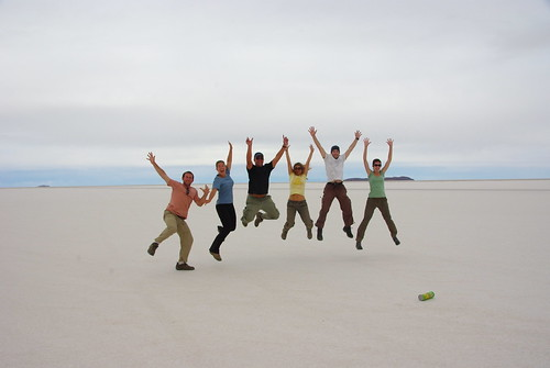 Jumping in the Salar de Uyuni, Bolivia
