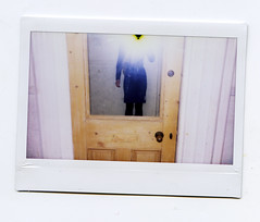 (miss paws) Tags: door woman selfportrait mirror arms legs flash wide hallway instant overexposed fujifilm 100 instax backtoschooloutfit