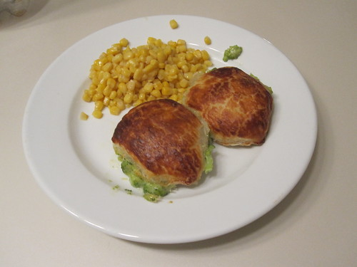 Broccoli turnovers and corn at home
