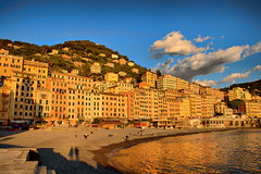 Warm sunlight over Camogli (klausthebest) Tags: light shadow sea sky italy cloud house reflection beach gold italia village dusk liguria camogli warmlight goldentones mywinners abigfave worldbest dragondaggerphoto