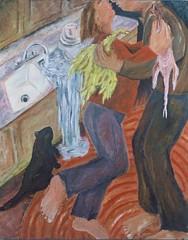 joy runneth over, 1985 (siptakg) Tags: woman man chicken love water cat painting kiss couple sink oil overflow siptak