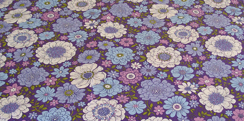Sheridan Vintage 1970s Floral Sheet Blue/Purple