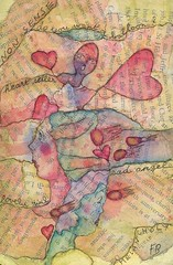 "MOLESKINE ""Heart seller""  (Framboisine Berry) Tags: girl face collage angel berry heart mixedmedia balloon melancholy comet comte framboisineberry"