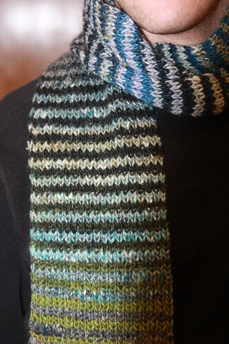 Ian wearing Noro striped scarf-1
