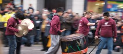 Drumming team (2) (BinaryApe) Tags: uk manchester dummer drum chinesenewyear newyear motionblur marching procession cymbals crowds percussionists yearoftheox sigma1020mmf456