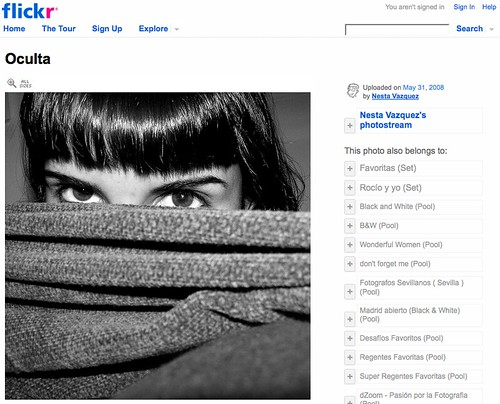 Captura de Flickr mostrando una fotografía de Nesta Vazquez