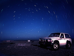(    ( (Abdulrhm) Tags: stars star nissan trails super safari 94 winch patrol   doha qatar startrails  alwakra                alwakrh      goldstaraward
