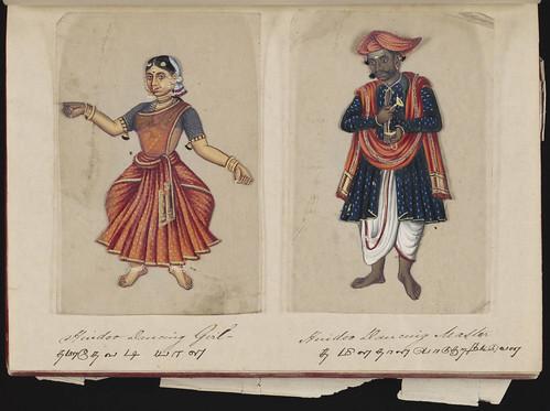 Hindoo dancing girl - Hindoo dancing master, Madura, 1837