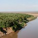 Murelle camp at the Omo River: looking down over the bend