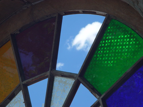 Blue sky & clouds through stained glass