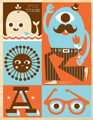 FunTime (tad carpenter) Tags: flowers sun illustration poster silkscreen whale tad mustache carpenter