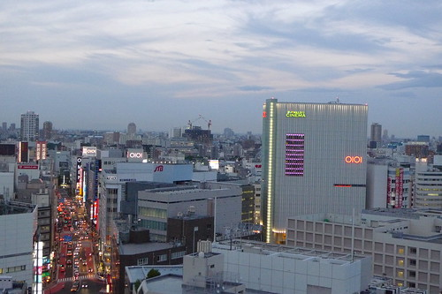 The Marui building and the bustling traffic