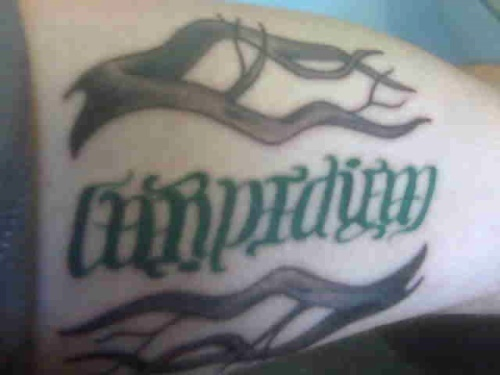 """Carpe Diem"" Ambigram Tattoo. This ambigram as a finished tattoo!"