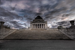 Shrine of Remembrance (WilliamBullimore) Tags: sky monument architecture clouds sunrise grey dawn memorial steps australia queensland granite artdeco remembranceday warmemorial anzac neoclassical stkildaroad kingsdomain anzacday shrineofremembrance doriccolumns abigfave platinumphoto colourartaward jameswardrop philliphudson atomicaward tynonggranite