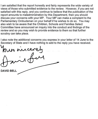 Letter from David Bell 2