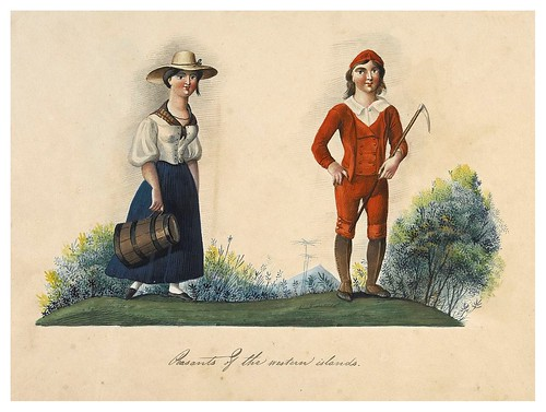 013- Campesinos de las islas occidentales-Picturesque review of the costume of the portuguese 1836