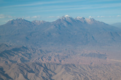 Aerial view of mountains around Arequipa