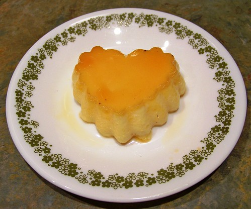 Heart Shaped Custard With A Caramel Sauce
