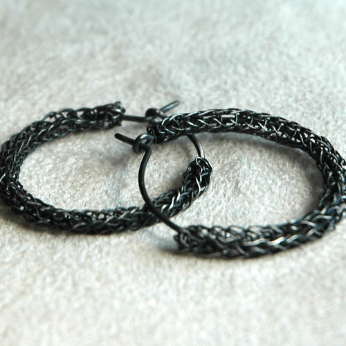 Oxidized silver hoops