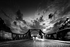 Almost home (96dpi) Tags: bridge sky blackandwhite bw monochrome clouds sonnenuntergang dusk himmel wolken sw schwarzweiss brücke