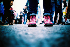 pink DMs (lomokev) Tags: pink lomo lca xpro lomography crossprocessed xprocess focus shoes dof boots low ground lomolca depthoffield groundlevel agfa jessops100asaslidefilm agfaprecisa dm lomograph drmartens agfaprecisa100 dms precisa doctormartens ratseyeview drmarten jessopsslidefilm doctormarten shotonhscourse roll:name=090813lomolcaa file:name=090813lomolcaa11