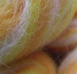 CANDY CORN - hand processed alpaca roving - 4.5 oz - spinning available