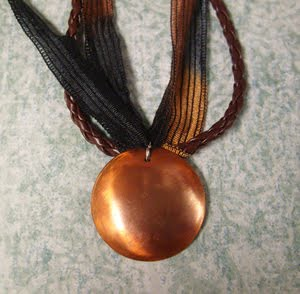 copper domed pendant necklace