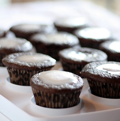 Devils Food Cupcakes with Vanilla Bean Icing