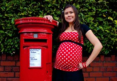 Special Delivery (Carly Wong) Tags: uk red portrait woman baby colour green girl fashion female bristol fun mouse friend post image box vibrant funky patriotic pregnant belly beginning postbox match spotted royalmail brunette alkaline iconic bump fishponds bs16 alkalinemouse bs16229