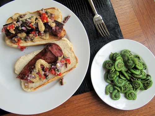 Lamb Kielbasa and Fiddleheads