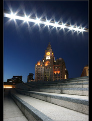 Stars above the city... (Chrisconphoto) Tags: original liverpool canon stars twilight lowlight lol steps creative angles sigma threegraces 1020mm merseyside liverbuilding stagelights goodlight benbo findingsomethingnew