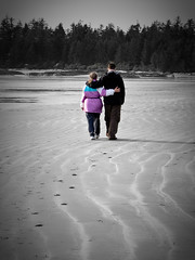 IMG_0847 (wolfnowl) Tags: ocean trees beach rock sand bc pacific britishcolumbia pair mother son tofino spruce lightroom chestermanbeach