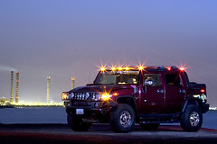 MY MOON'S LIGHTS (YOUSEF AL-OBAIDLY) Tags: car night stars lights smoke flash kuwait hummer h2 sut yousef        flickrestrellas