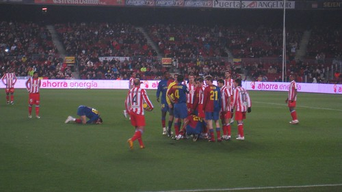 A few Barca players go down