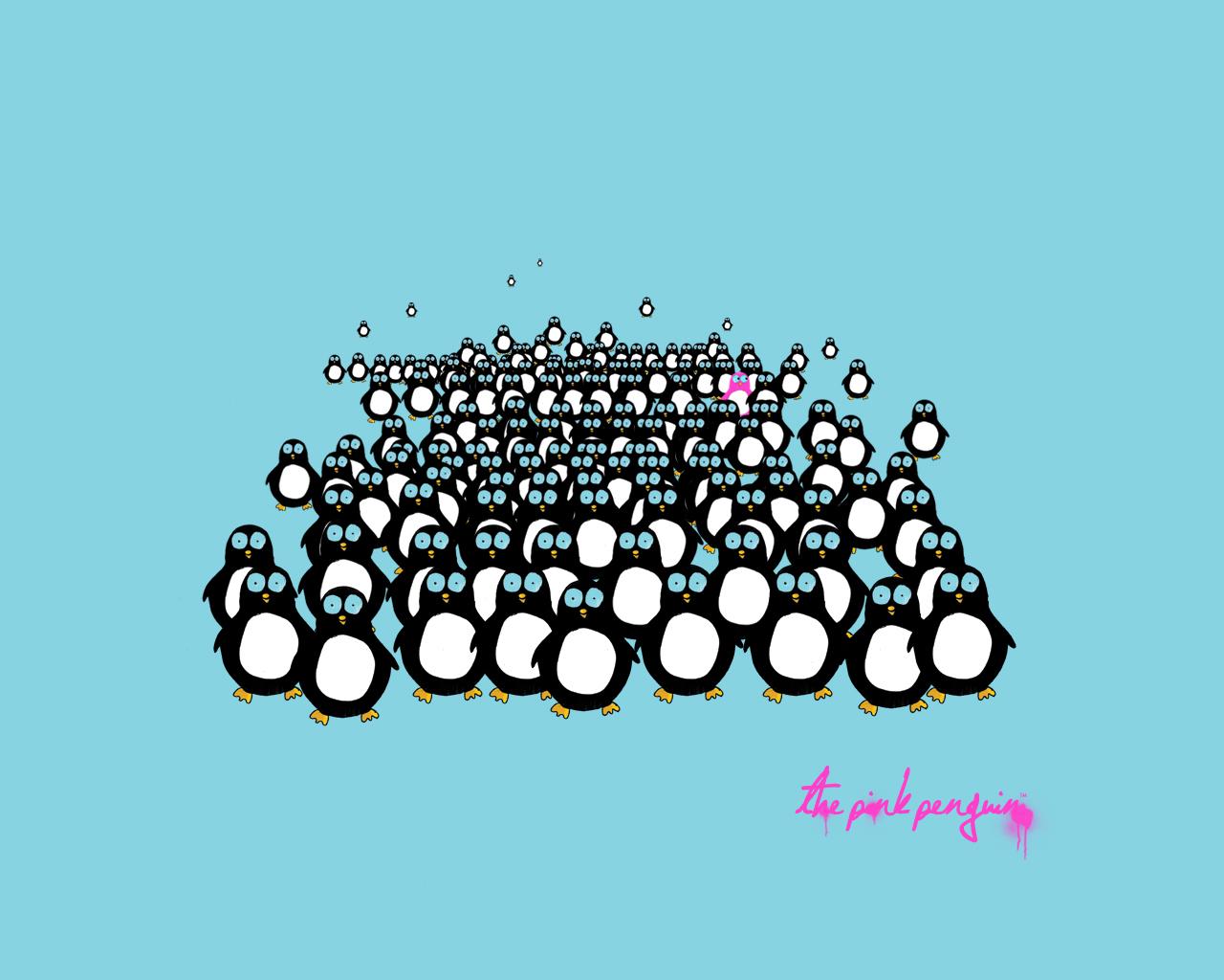 Tagged blue, design, desktop wallpaper, illlustration, penguins, pink,