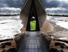 Gateway out at Sea (tosatori) Tags: road light sea strange collage composite composition photoshop williams image path mark entrance surreal follow doorway shore montage gateway photomontage unreal scape photocollage photocomposite hartlepool markwilliams tosatori