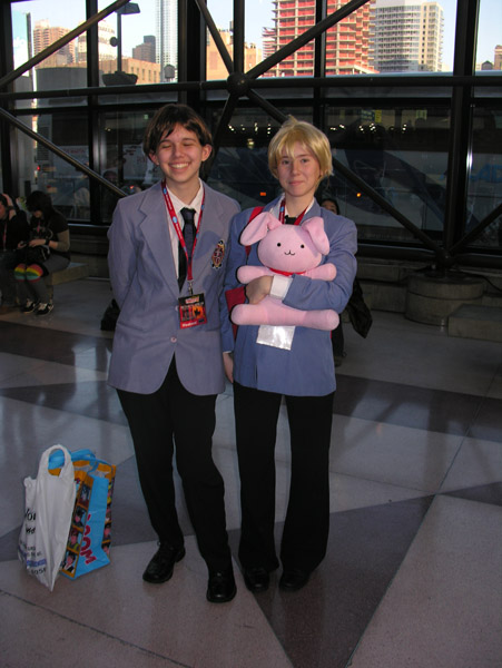Two fans at the 2010 New York Comic Con cosplaying their favorite characters from Ouran High School Host Club