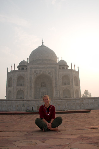 Eli sitting in front of the Taj Mahal