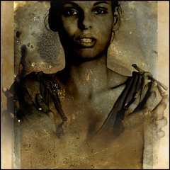 Voices (Fusty Box) Tags: woman 120 6x6 film beautiful mediumformat feminine young squareformat hp5 ilford stylized artcafe southamerican rolleicordvb artistictreasurechest copyright2009timgravestock